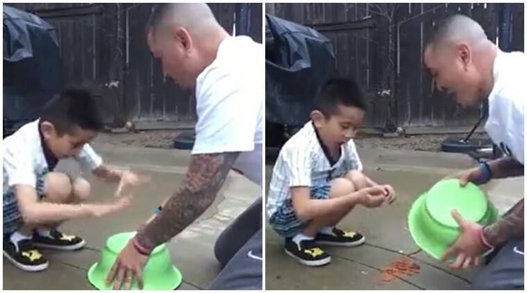 viral videos, interesting videos, funny videos, humourous videos, laughing videos, father playing prank with son, father plan's backfired, indian express, indian express news