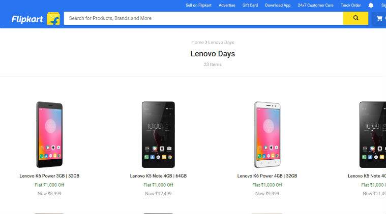 Flipkart Lenovo Days : Top deals on K5 Note, K6 Power and more