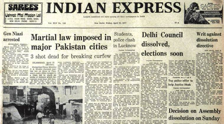 pakistan martial law, bhutto, pakistan martial law bhutto, indian express forty years ago, india news, indian express news, latest news
