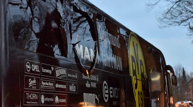 borussia dortmund, dortmund, borussia dortmund bus attack, dortmund vs monaco, dortmund bomb blast, dortmund bus, uefa champions league, ucl, football news, sports news, indian express