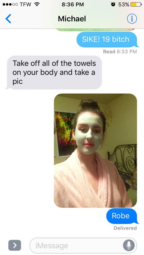 What's under the towel? Girl has the BEST response when asked for nudes