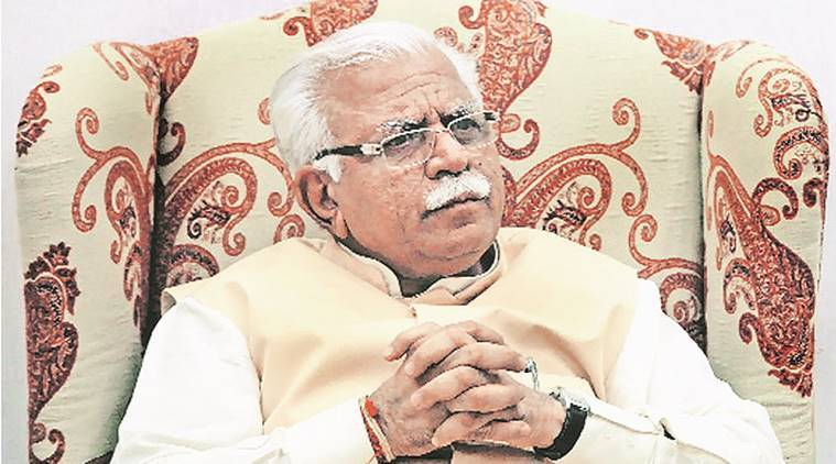 haryana chief minister, manohar lal khattar, haryana cm, manohar lal, villagers, land allottment, land acquisition, expressway, government, compensation, construction, protest, road, traffic, bypass, india news, indian express news