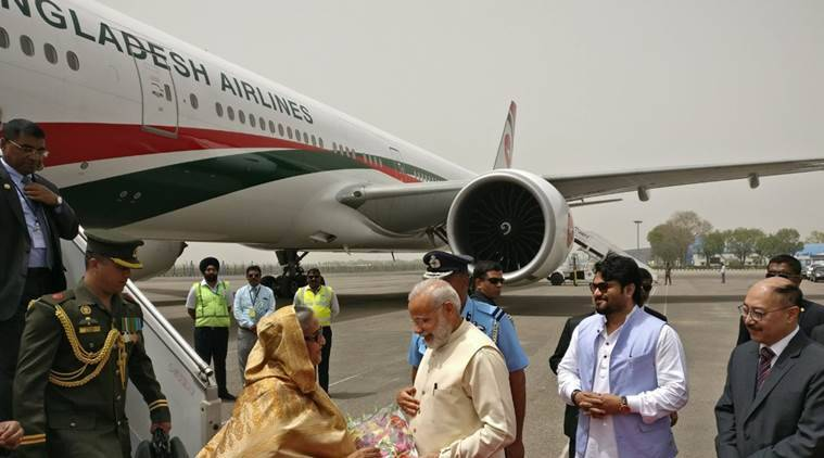 narendra modi, pm modi, modi-sheikh hasina, india-bangladesh relations, delhi airport, security agencies, normal traffic, india news, indian express