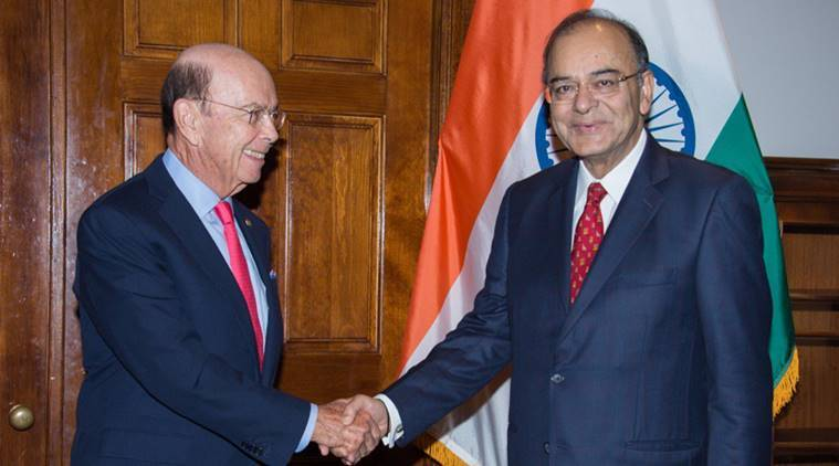 Union Finance Minister Arun Jaitley holds a bilateral meeting with the US Commerce Secretary Wilbur Ross in Washington DC