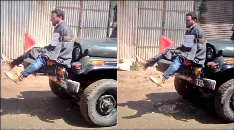 kashmir army, kashmir army jeep, man tied to jeep, omar abdullah, kashmir youth jeep, kashmir people tied with jeep, omar abdullah jeep tweet, kashmir jeep video, india news, indian express news