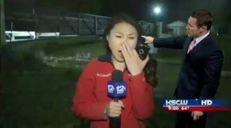 journalist yawning video goes viral, tired journalist yawning video viral, tired deedee sun video viral, deedee sun viral video, weather reporter yawning video blooper funny, indian express, indian express news, indian express trending, trending news