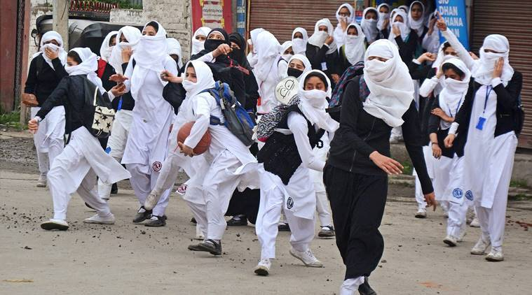 kashmir, kashmir unrest, kashmir protest, kashmir student protest, srinagar student protest, mehbooba mufti, mufti government, pellet firing, human shield, kashmir human shield, indian express news, india news