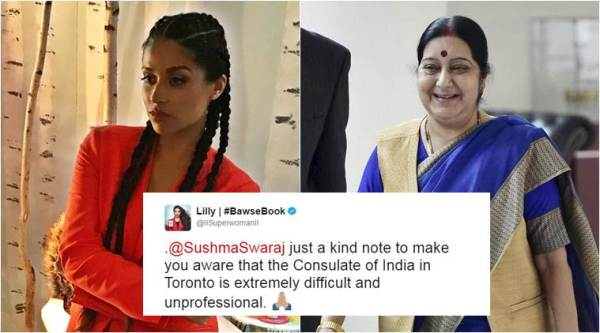 sushma swaraj, lilly singh, lilly singh visa issue, lilly singh sushma swaraj, lilly singh swaraj visa complaint, sushma swaraj help lilly singh, indian embassy toronto, canada indian embassy, lilly singh india tour, entertainment news, social media news, latest news, indian express
