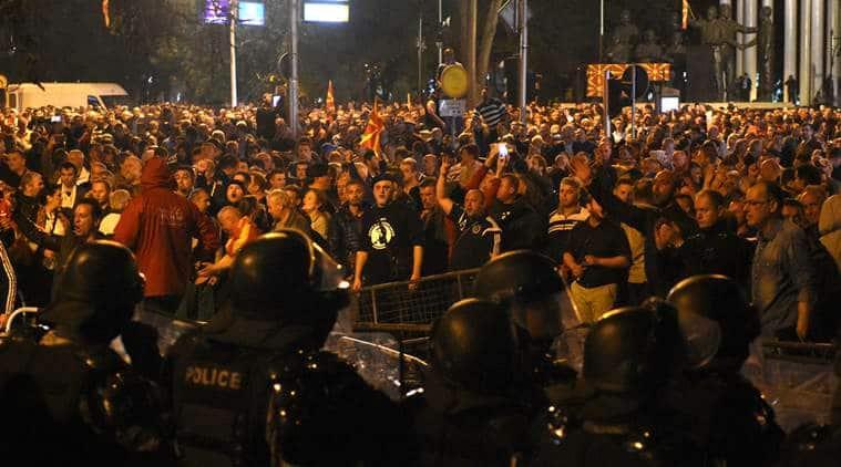 Risultati immagini per macedonia parliament riot