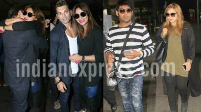 Bipasha Basu gets showered with kisses from Karan Singh Grover, Kapil Sharma travels in company of girlfriend Ginni Chatrath
