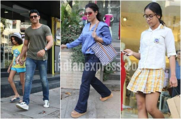 Actors Kajol and Farhan Akhtar take their daughters out for shopping