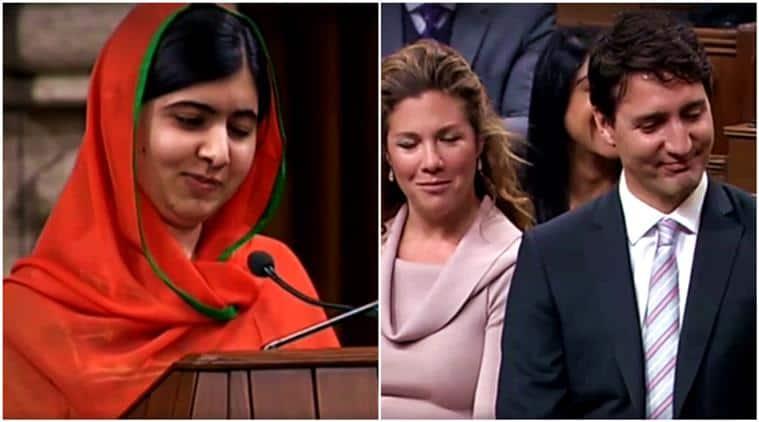 Malala Yousafzai, Malala Yousafzai canada citizenship, Malala Yousafzai canada, Malala Yousafzai justin trudeau, Malala Yousafzai speech, Malala Yousafzai acceptance speech, Malala Yousafzai justin trudeau tattoo, Malala Yousafzai justin trudeau looks, Malala Yousafzai justin trudeau yoga, Malala Yousafzai justin trudeau canada, Justin Trudeau, canada citizenship, indian express, indian express news