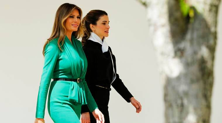 Melania Trump welcomes Queen Rania with a sartorial nod to ...