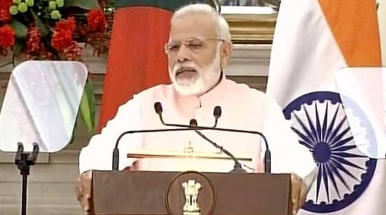 India-Bangladesh, India-Bangladesh ties, India-Bangladesh pacts, PM Modi on Pakistan, India-pakistan, Narendra Modi, Sheikh Hasina, Manekshaw Centre, PM Modi at Maneksahw centre, Bangladesh Liberation War, indian express news
