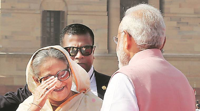 India, Bangladesh, Indo-Bangla, Narendra Modi, Sheikh Hasina, MoUs, defence pacts, infra pacts, modi-hasina, mamata banerjee, teesta river water sharing, new delhi-dhaka relations, india news, indian express