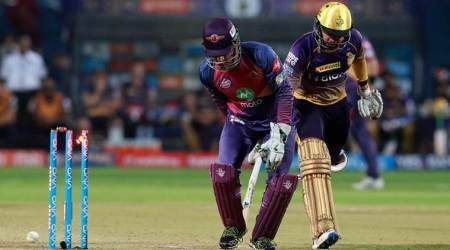 MS Dhoni, MS Dhoni wicket-keeping, MS Dhoni RPS, Rising Pune Supergiant MS Dhoni, Sunil Narine, Sunil Narine wicket, IPL 2017, IPL 10, sports news, sports, cricket news, Cricket, Indian Express