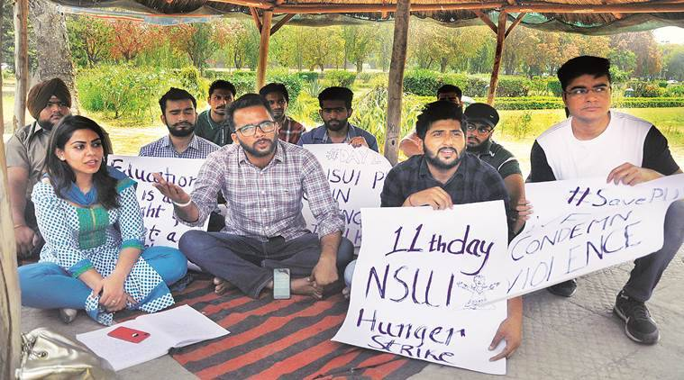 NSUI, Punjab Student protest, Fee Hike News, Punjab University, Indian Express News, India News