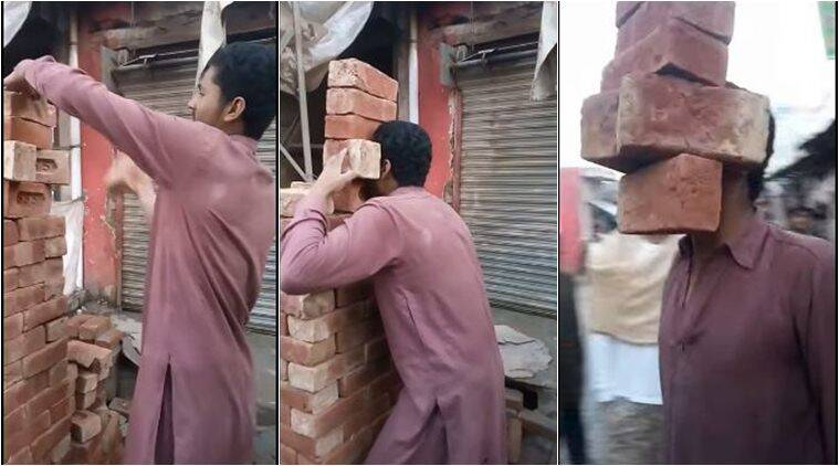pakistan, stunts, stunt videos, man lifts bricks with teeth, teeth stunt videp, viral videos, amzing stunt videos, pak man lifts bricks with teeth, pakistan news, viral news, latest news