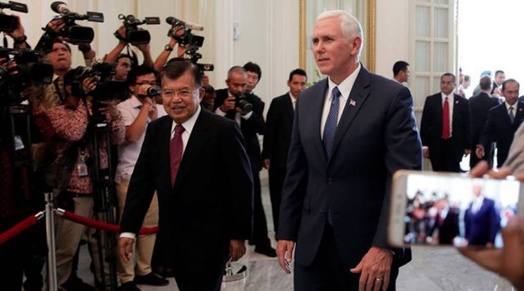 Mike Pence, Mike Pence Indonesia visit, US Indonesia trade, US Indonesia bilateral talks, Joko Widodo,  Joko Widodo Mike Pence, World news, Indian Express