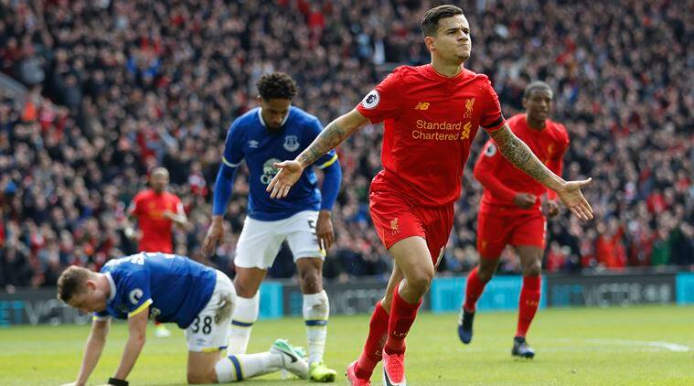 Philippe Coutinho, Philippe Coutinho goal, Philippe Coutinho news, Philippe Coutinho goal, Liverpool vs Everton, Everton Liverpool, sports news, sports, football news, Football, Indian Express