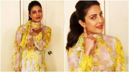 priyanka chopra, priyanka chopra fashion, priyanka chopra blumarine dress, priyanka chopra yellow floral dress, priyanka chopra live with kelly, priyanka chopra live with kelly fashion, fashion, lifestyle, indian express, indian express news
