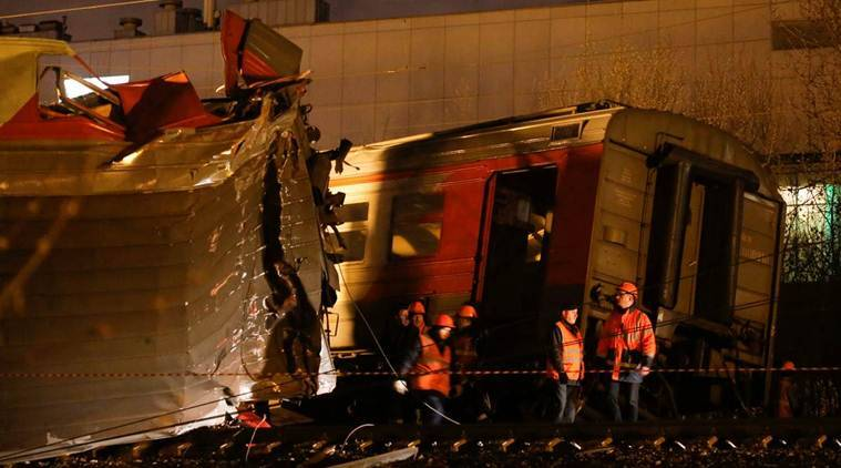 moscow train collision, moscow train accident, russia train accident, moscow train accident injured, moscow brest long distance distance train, russian railways accident, moscow commuter train, moscow news, russia latest news, world news, indian express