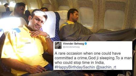#HappyBirthdaySachin, virender sehwag wishes sachin, sachin turns 44. sachin tendulkar 44th birthday, virender sehwag wishes sachinon twitter, virender sehwag birthday wish for sachin, indian express, indian express news, sachin trending