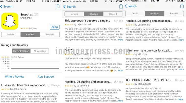 Snapchat's App Store ratings down to one star thanks to