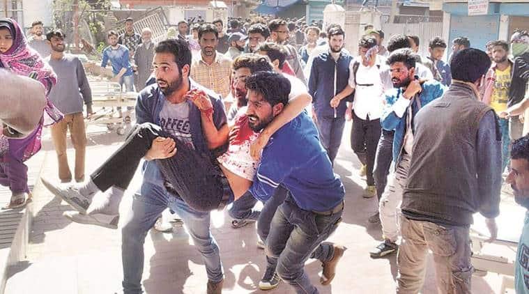 kashmir, kashmir youth dies, srinagar bypolls, srinagar death, srinagar firing, kashmir firing, kashmir protest, kashmir news, BSF firing, kashmir bsf jawans, kashmir violence, kashmir human shield, man tied to jeep kashmir, batamaloo, indian express, india news