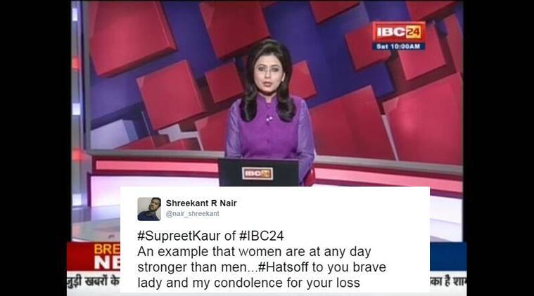 Supreet Kaur, chhattisgarh, Supreet Kaur IBC 24, anchor Supreet Kaur, journalist reports husband death, IBC 24, Chhattisgarh news, latest news, latest india news, indian express