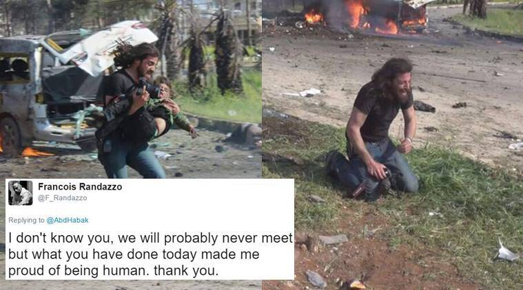 syrian photographer, syrian photographer viral photo, syrian photographer viral Abd Alkader Habak, syrian photographer carrying child photo viral, syrian photographer crying photo viral, indian express, indian express trending, trending news, indian express trending