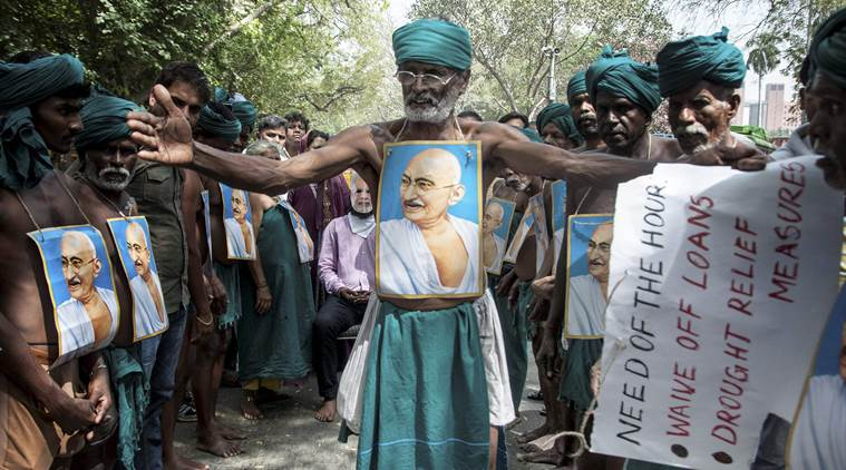 Tamil Nadu farmers protests, TN farmeragitation, T Siva farmer protest, PJ Kurien farmer protest, AIADMK Navaneethakrishnan farmer protest, Rajya Sabha TN Farmers, India news, Indian Express