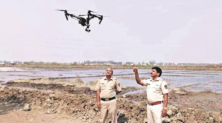thane police, thane police drones, illegal liquor drones, kopardi rape, thane news, indian express