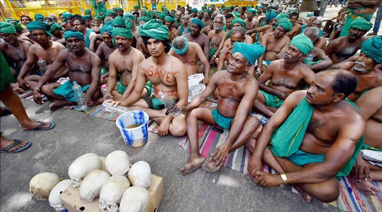 TN farmers, Tamil Nadu farmers, Tamil Nadu farmers protest withdraw, TN farmers protest withdrawn, TN farmers strike, TN farmers protest, Chief Minister Edappadi Palaniswami, Indian Express, Indian Express News