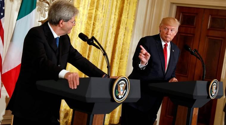 Donald Trump, Trump, Trump-Gentiloni, Italy Prime Minister Paolo Gentiloni, trump-Gentiloni meeting, US-Italy, world news, indian express news