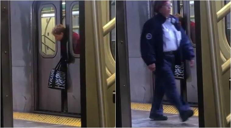 Riders Walk Past Woman with Head Trapped Between Subway Doors