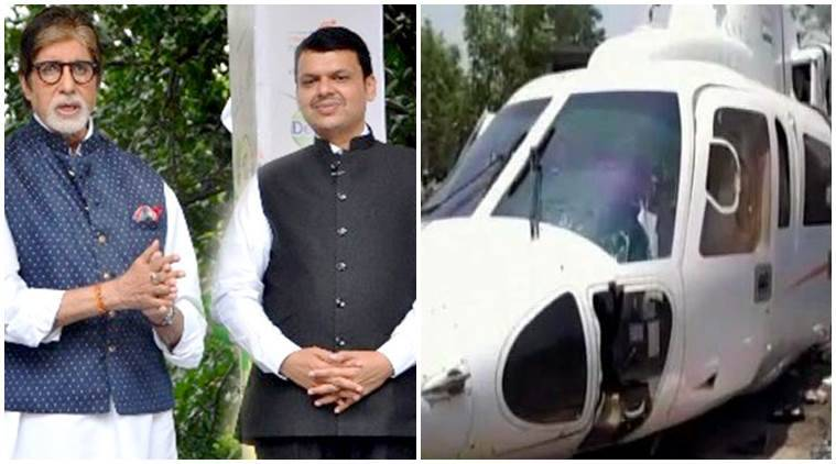 Chopper carrying Maharashtra CM Fadnavis crash-lands, all safe