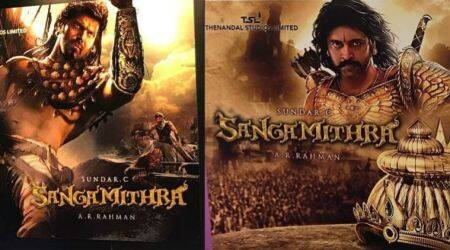 Sangamithra new poster: Jayam Ravi, Arya are battle ready, director Sundar C promises a better film than Baahubali. See photos