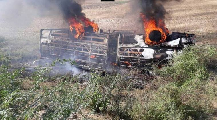 bus accident, accident, uttar pradesh bus accident, up bus accident, banda bus accident, india news, indian express news