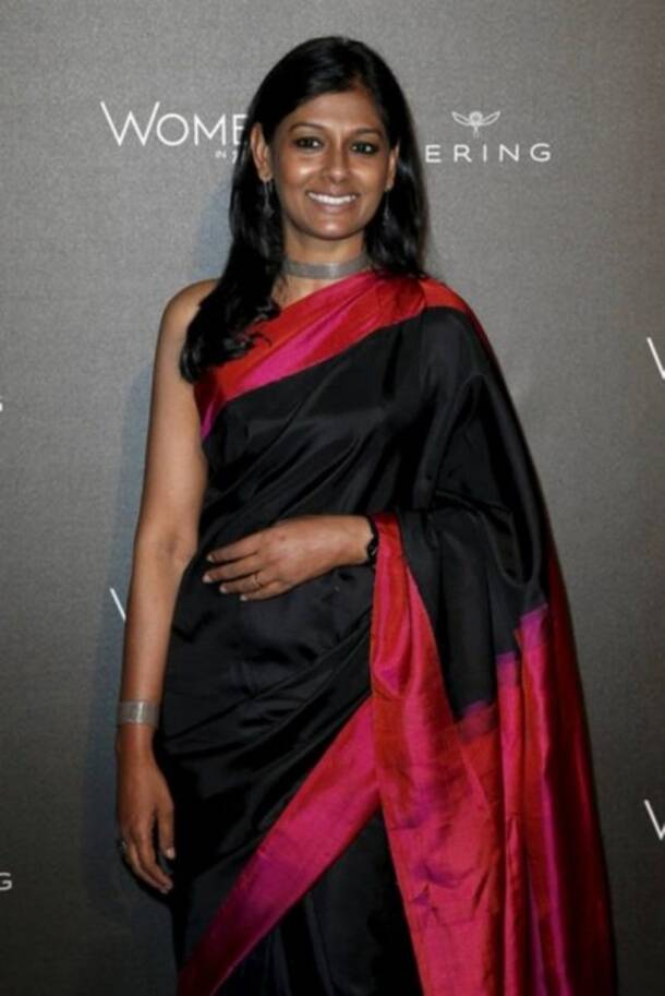Nandita Das, Nandita Das birthday, Nandita Das birthday celebration, Nandita Das turns 48, Nandita Das sari look, Nandita Das in sari, celeb fashion, Indian express, Indian express news