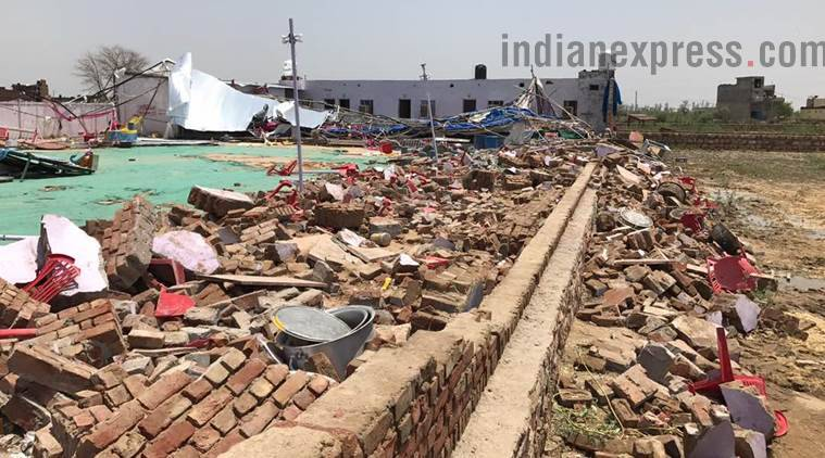 bharatpur wall collapse, wedding hall wall collapse, rajasthan wall collapse, rajasthan wedding hall accident, india news, indian express news