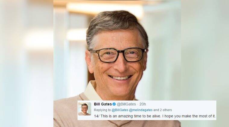 Bill gates, bill gates giving career advice, motivational words by bill gates, tweets by bill gates, indian express, indian express news