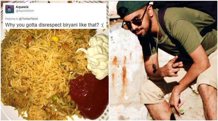 biryani, biryani recipe, biryani with ketchup and mayonnaise, biryani twitter photo, biryani twitter reactions, biryani on twitter, indian express, indian express news