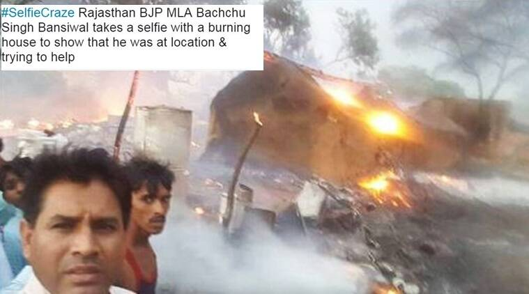 bjp leader slammed on social media, bachchu singh criticised, minister posts a selfie on a burning site, indian express, indian express news