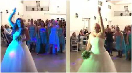 WATCH: Brave bride suffering from cancer throws wig away during her wedding