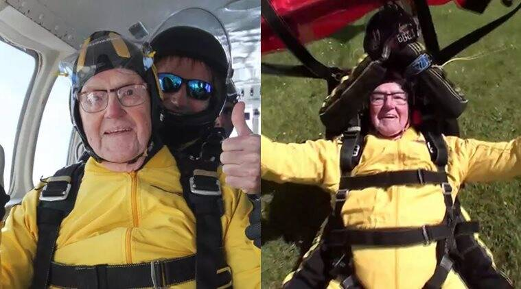 101 years old breaks skydiving record, 101 years british veteran skydives world record, oldest man to skydive world record, 101 year old british war veteran breaks sky-diving record video, indian express