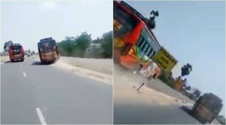 Bus drivers race recklessly on road in southern India
