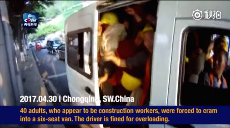 viral videos, forty builder coming out of a six-seat van, funny videos in china, indian express, indian express news