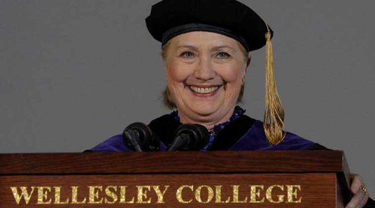 Hillary Clinton, Donald Trump, Clinton-Trump, Hillary Clinton Wellesley College graduation speech, Trump fake news, world news, indian express news