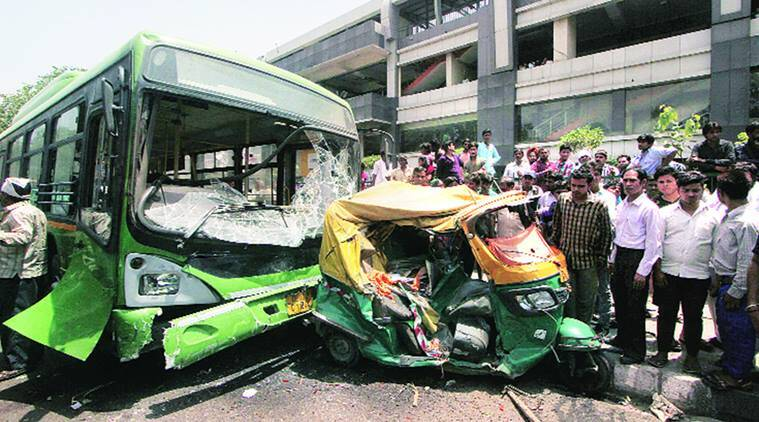 Image result for Delhi bus accident: Driver broke down, had to be taken to safety,